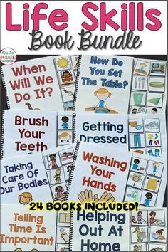 Teach crucial life skills in a fun and engaging way with these interactive books bundle. The books have been adapted for teaching special education students ADL skills, life skills and community skills. This bundle is perfect for special education teachers and speech therapists.