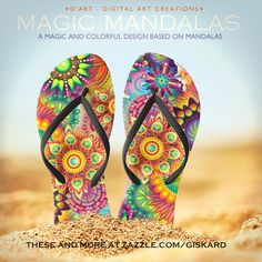"MAGIC MANDALAS... ""A magic and colorful design based on mandalas""...  #flipflops #sandals #thongs #footwear, #footgear, #mandala, #exotic, #mistic, #colorful, #stylish, #trendy, #colors, #lavish #zazzle #zazzler #zazzleshop #digitalartcreations"