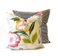 20x20 Floral Print Decorative Pillow Cover  Black by NoraQuinonez, $42.00