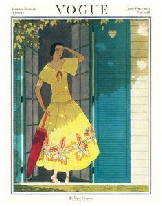 ⍌ Vintage Vogue ⍌ art and illustration for vogue magazine covers - June 1922 Vogue Vintage, Vintage Vogue Covers, Art Vintage, Looks Vintage, Vintage Posters, Vogue Magazine Covers, Fashion Magazine Cover, Fashion Cover, Magazine Art