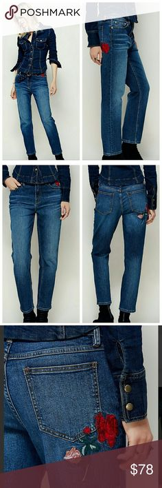 NWOT Free People Embroidered Skinny Jeans Brand new without tags Free People Embroidered Skinny Jeans features a flattering Tapered leg that sits at the Ankle. Button closure and zip fly Free People Jeans Skinny