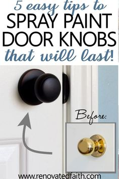 How to Spray Paint Door Knobs that LAST!What you should know before refinishing old door hardware! Whether you are spray painting interior door knobs matte black, nickel or oil rubbed bronze, you should repurpose door Paint Door Knobs, Interior Door Knobs, Painted Interior Doors, Black Interior Doors, Black Doors, Painted Doors, Paint Doors Black, Painting Doorknobs, Painting Hardware