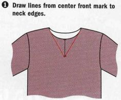 Draw lines from center front mark to neck edges. Change crew neck to Vneck.