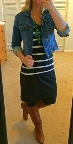 Striped shirt, jean jacket, black skirt, boots and green bubble necklace.
