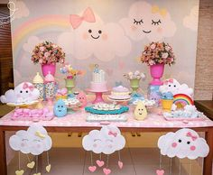 first birthday party ideas boys Rainbow Birthday, Unicorn Birthday Parties, Unicorn Party, Baby Birthday, Cloud Party, Idee Baby Shower, Baby Shower Themes, Baby Party, Birthday Decorations
