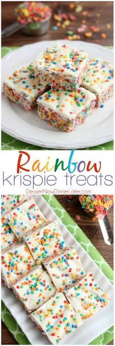 Fruity Pebbles, marshmallows, white chocolate, and confetti sprinkles, come together to make these Rainbow Krispie Treats! An easy St. Patrick's Day dessert! on MyRecipeMagic.com