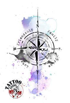 Kompass Windrose Watercolor Aquarell Tattoo Motiv Idee der Tattoo Insel