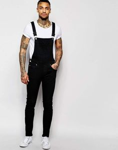 Dr Denim Ira Skinny Overall Jeans in Black Overall Overol Overall men Overol hombre Dungaree Jeans, Overalls Outfit, Black Overalls, Dr. Denim, Mode Cool, Style Masculin, Herren Outfit, Man Style, Men's Fashion Styles