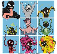 Venom, Riot, Phage, Lasher, Eddie Brock, Scorpion Venom, Carnage, Agony and Scream. Marvel Art, Marvel Heroes, Marvel Avengers, Eddie Brock Venom, Venom Comics, Marvel Venom, Dc Comics, Marvel Cinematic Universe, Superfamily