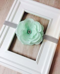 MINT Flower with Gray Chevron Headband - Photography Prop - Fits Babies to Toddlers on Etsy, $8.50