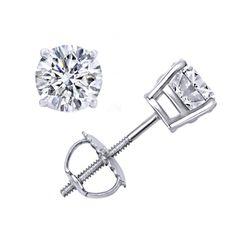 4.00 Ct Round Brilliant Cut Moissanite 14K Gold Stud Earrings #AffinityFashionJewelry #Stud