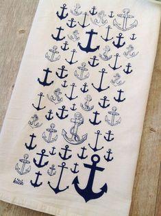 Tea Towel Nautical Anchor Navy Blue Kitchen Flour by KitchStudios
