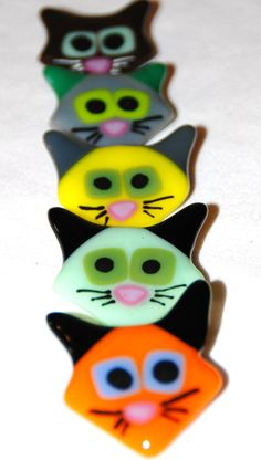 Whimsical Cat Pins in Fused Glass by Omega Glass, $16.00