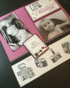 #ctmh Close To My Heart- Life inPictures Camera scrapbook layout By Heather Stewart scraptastics1.blogspot.com