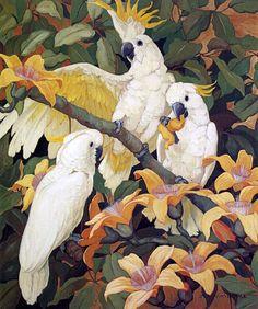 Sulpher Crested Cockatoos, Jessie Armes Botke