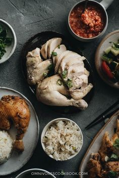 Learn to make the best Hainanese chicken rice with tender and juicy chicken, served with fragrant rice cooked in chicken broth and two types of sauce.
