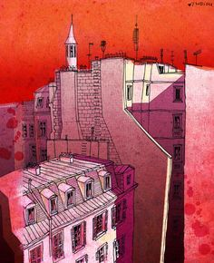 WOW! I just love this artist's style --> In an old house in Paris 2   Red  Paris illustration  by tubidu