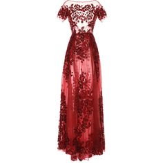 Zuhair Murad Floral Embroidered Short Sleeve Gown ($18,850) ❤ liked on Polyvore featuring dresses, gowns, red floor length dress, red evening dresses, floor length evening dresses, red a line dress and tulle dress