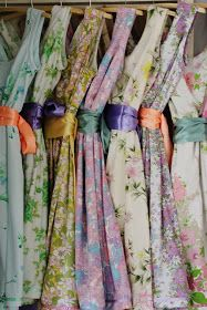 Love these dresses from vintage sheets.