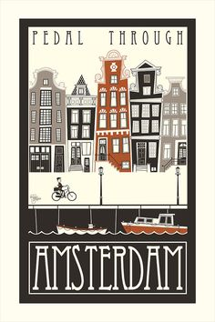 Pedal Through Amsterdam 11x17 by Burchworks on Etsy