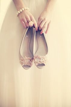 DIY your bridal shoes; so easy... buy just a plain nude coloured pair, then find two sequin applique headbands and glued them onto the shoes with grip. very easy to have chic and unique flats, and handmade #DIY #wedding