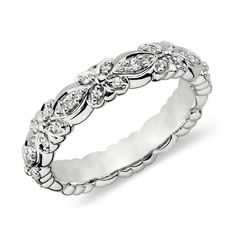 Matchless Intricate Diamond Wedding Rings: Patterned Real Quality Diamond Bridal Rings In Gold Band
