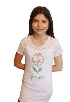 Troo Peace Flower Burnout Tween Tee Shirt