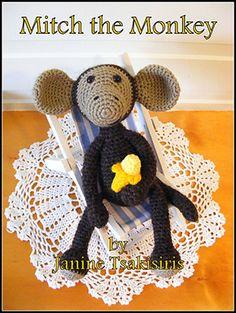 Mitch the Monkey - Crochet Pattern by #NeensCrochetCorner   Featured at Neen's Crochet Corner - Sponsor Spotlight Round Up via @beckastreasures   #fallintochristmas2016 #crochetcontest #spotlight #crochet #roundup