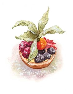 Fruit Tart, by. Alicia Severson, Watercolor food illustration, This fruit tart is from the lovely little bakery La Petite Patisserie (www.facebook.com/lepetitepatisserie) located in Ayr, Scotland.