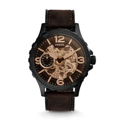 Nate Automatic Dark Brown Leather Watch - Fossil India