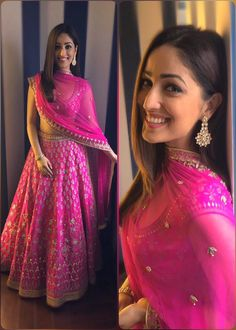 Create a smoldering impression on everyone with this hot pink yami gautam bollywood lehenga choli indian dresses. The attractive designs of embroidery enhanced with thread work, zari work along with patch border work enchants beauty Indian Lehenga, Silk Lehenga, Ghagra Choli, Bridal Lehenga, Anarkali Lehenga, Blue Lehenga, Indian Bridal Outfits, Indian Designer Outfits, Lehenga Designs