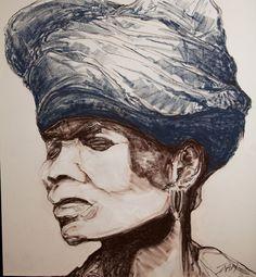 Xhosa woman 1mX1m Pastel