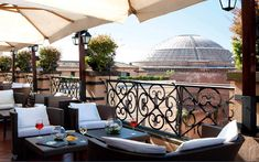 Minerva Roof Garden is at the top of the Grand Minerva Hotel in the center of Rome.  Great for drinks or even for a Sunday Brunch with a view.