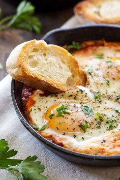 Baked Eggs in Marinara Sauce - 3 ingredients are all you need to make these delicious baked eggs!