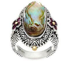 Barbara Bixby Sterling & 18K Abalone Doublet Ring