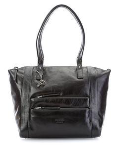 Riga Handtasche Leder schwarz 39 cm