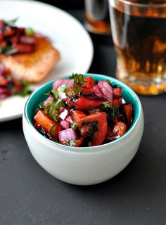 Tamarillo Salsa Recipe, an unusual twist of salsa. No you don't use ordinary tomato with this, try the tamarillo aka tree tomato. Raw Food Recipes, Fish Recipes, Meat Recipes, Healthy Recipes, Pan Fried Salmon, Food Categories, Salsa Recipe, Soul Food, Summer Recipes