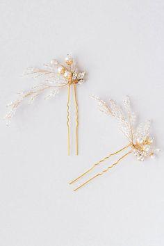 Horquillas para el cabello de novia Rosamonde Crystal perlas en oro por percyhandmade