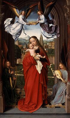 Gerard David  (Netherlandish, Oudewater ca. 1455–1523 Bruges).  Virgin and Child with Four Angels,  ca. 1510–15, Oil on wood, 24 7/8 x 15 3/8 in. (63.2 x 39.1 cm)