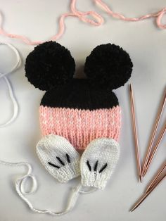 Minnie Mouse newborn baby girl beanie with mittens. A personal favorite from my Etsy shop https://www.etsy.com/listing/583549801/minnie-mouse-baby-beanie-with-mittens