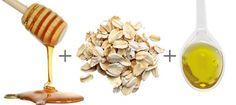 1 col. (sopa) de mel 1 col. (sobremesa) de aveia 1 col. (sopa) de azeite Misture bem todos os ingredientes e aplique a máscara em todo o rosto, pescoço e colo, 10 a 15 minutos. Lave o rosto com água e, ao mesmo tempo, massageie-o suavemente com movimentos circulares.  Pós: chá de hibisco bem concentrado e passar na pele com algodão, morno ou frio.