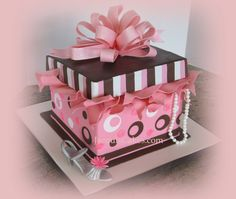 present cakes | Pink and Brown Gift Box cake with High Heel