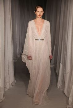 PALE LILAC KAFTAN GOWN WITH SILVER BEADED WILLOW. WORN WITH NARROW HEXAGON BELT