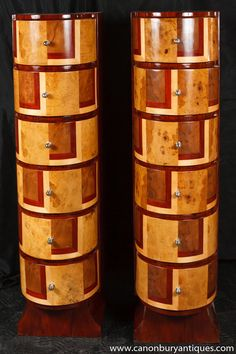 Photo of Pair Art Deco Cubist Chest Drawers Tall Boy Commode