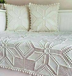Transcendent Crochet a Solid Granny Square Ideas. Inconceivable Crochet a Solid Granny Square Ideas. Crochet Bedspread Pattern, Crochet Curtains, Granny Square Crochet Pattern, Crochet Pillow, Crochet Squares, Crochet Motif, Knit Crochet, Crochet Patterns, Crochet Afghans