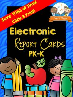 Electronic Preschool Report Card Saves Tons of Time and Makes Filling Out Report Cards Quick and Easy.  Never Write Your Report Cards by Hand Again! Includes personalized comments too, just select your preferred comments from the pre-populated fields, then click a button to add the child's name!