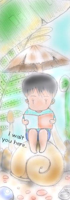 reading alone.. #bookmark #chibi