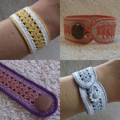 A free crochet pattern of a bracelet. Do you also want to crochet this bracelet? Read more about the Free Crochet Pattern Blacelet crochet bracelet Crochet Bracelet Pattern, Crochet Jewelry Patterns, Bag Crochet, Crochet Accessories, Crochet Crafts, Bracelet Patterns, Crochet Projects, Free Crochet, Quick Crochet