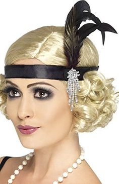 Ladies 1920s Charleston Flapper Satin Bead Feather Hairband Headband Fancy Dress Costume Outfit Accessory (One Size)