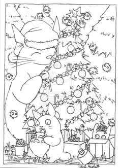 totoro christmas card lineart by graywolfshadowdeviantartcom on deviantart